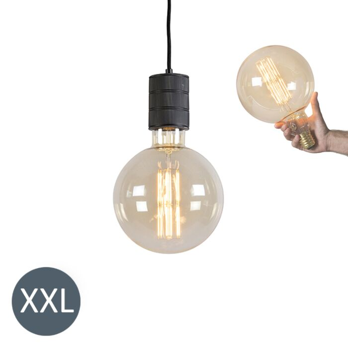 Viseča-svetilka-Megaglobe-črna-z-zatemnjeno-LED-svetilko