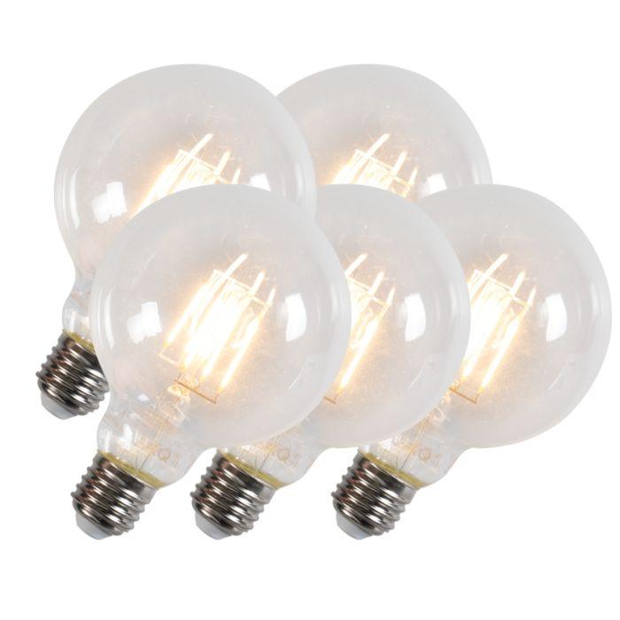 Komplet-5-Led-žarnic-z-žarilno-nitko-G95-E27-6W-600-lumnov
