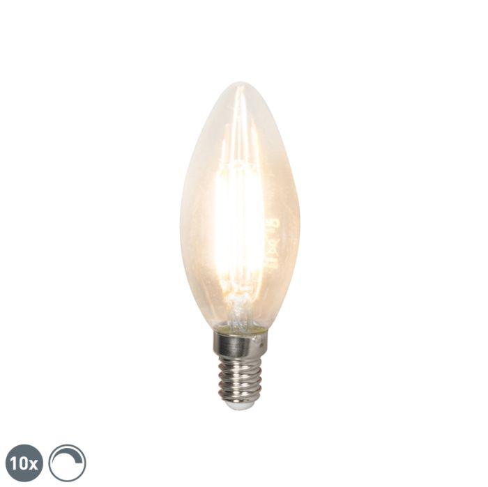 Komplet-10-LED-žarnic-z-žarilno-nitko-E14-240V-3,5W-350lm-B35-zatemnitveno