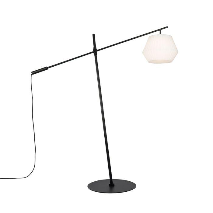 Dizajn-zunanja-talna-svetilka-črna-IP44-z-belo-senco---Virginia