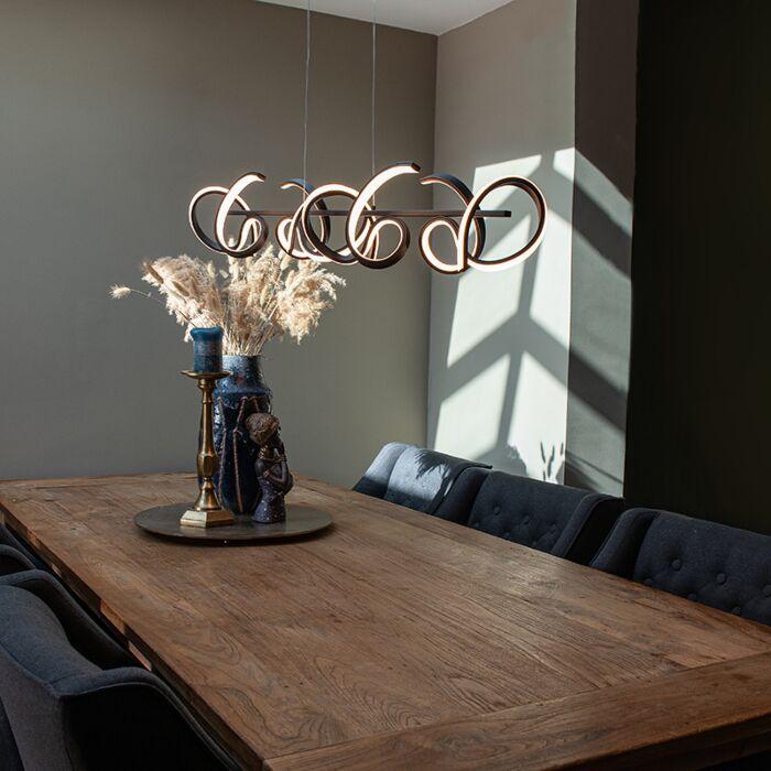 Dizajn-viseča-svetilka-črna-z-LED-in-zatemnitvijo---Krisscross