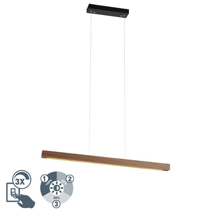 Moderna-viseča-svetilka-iz-lesa-vključno-s-3-stopenjsko-LED-zatemnitvijo---Holz