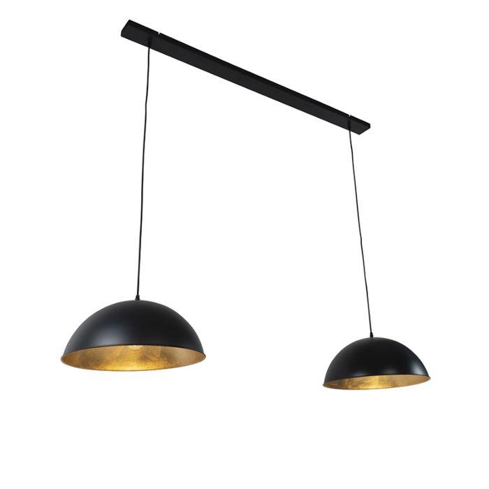 Industrijska-viseča-svetilka-črna-z-zlatimi-2-svetilkama---Magnax