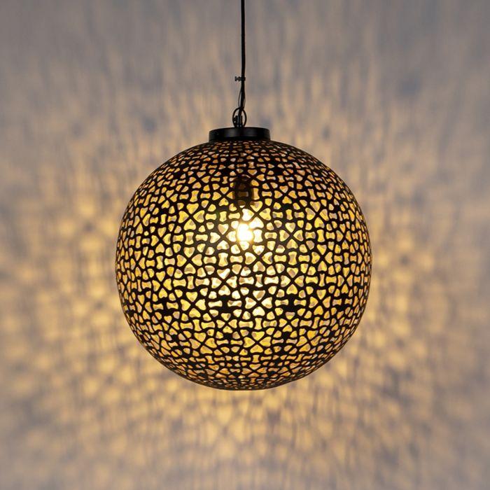 Orientalska-viseča-svetilka-črna-z-zlatom-45-cm---Radiante