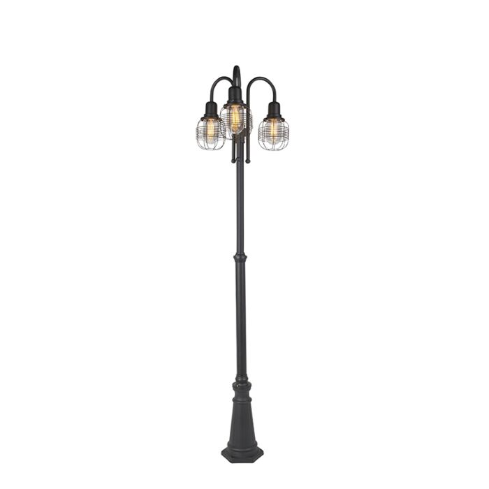 Podeželska-zunanja-svetilka-črna-3-luč-IP44---Guardado