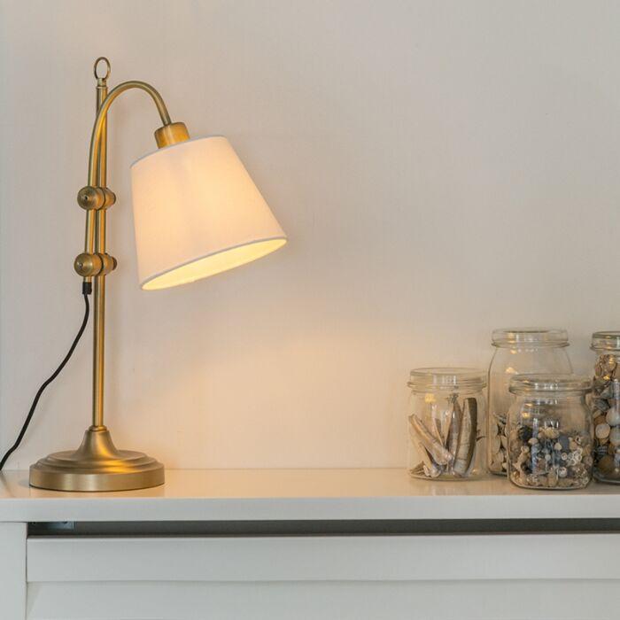 Klasična-namizna-svetilka-bron-z-belim-odtenkom---Ashley