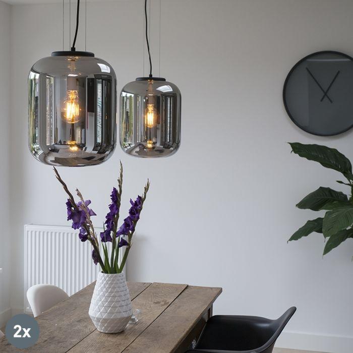 Komplet-2-dizajnerskih-visečih-svetilk-črna-z-dimnim-steklom---Bliss