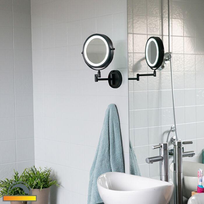 Dizajn-kopalniško-ogledalo-črno-z-nastavljivo-LED-IP44---Vicino