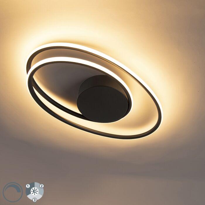 Dizajn-stropna-svetilka-črna-z-LED-diodami-3-stopnice-zatemnitve---Rowan