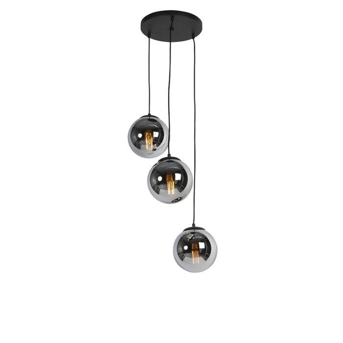 Art-Deco-viseča-svetilka-črna-z-dimnim-steklom-3-luč---Pallon
