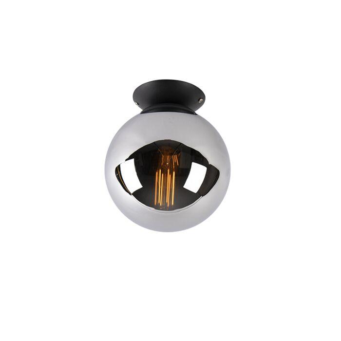 Art-deco-stropna-svetilka-črna-z-dimnim-steklom---Pallon