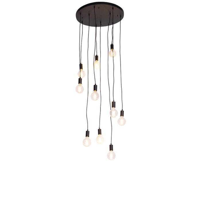 Sodobna-viseča-svetilka-črna-60-cm-10-luči---Facil