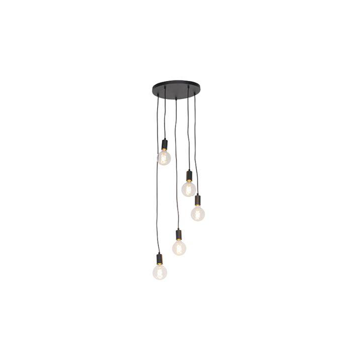 Sodobna-viseča-svetilka-črna-35-cm-5-luč---Facil