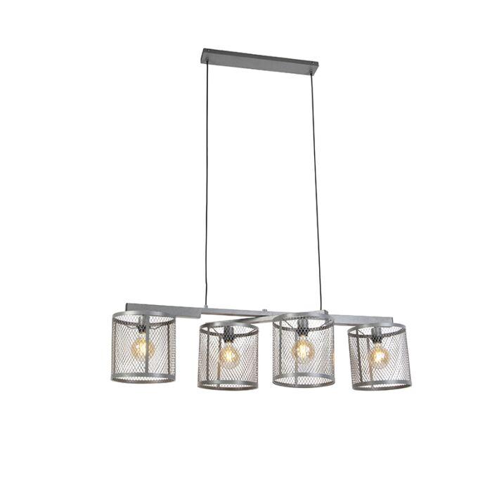 Industrijska-viseča-svetilka-starinsko-srebrna-4-luč---Cage-Robusto